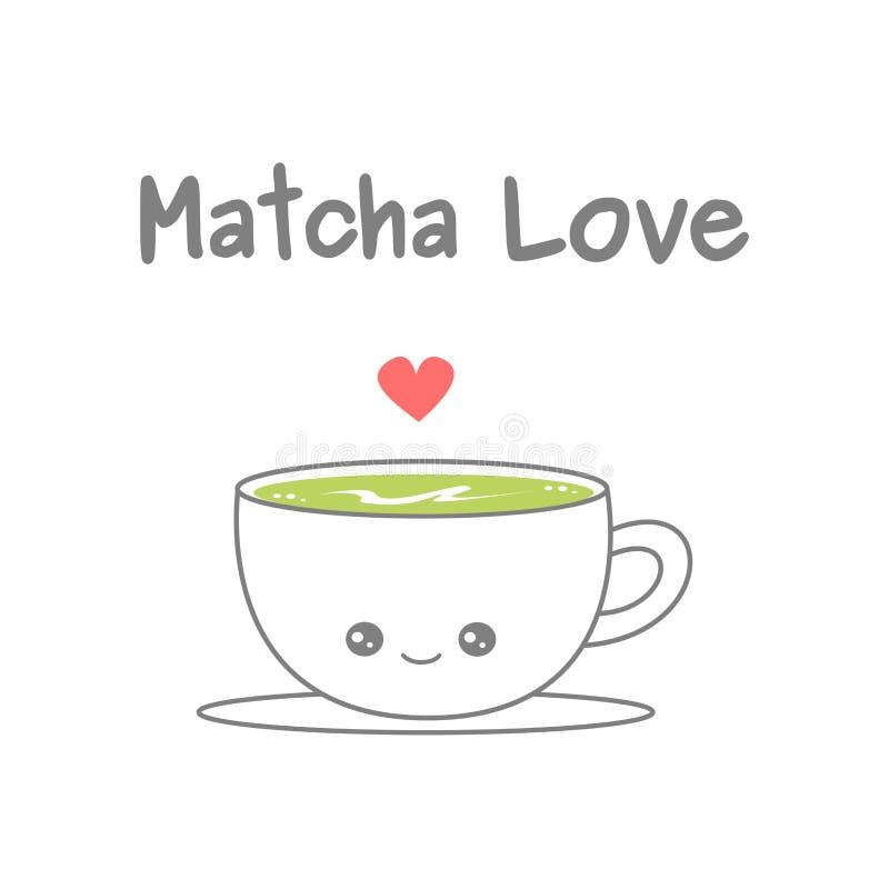 Leuke beeldverhaalkop van matcha latte vectordieillustratie op witte achtergrond wordt geïsoleerd vector illustratie