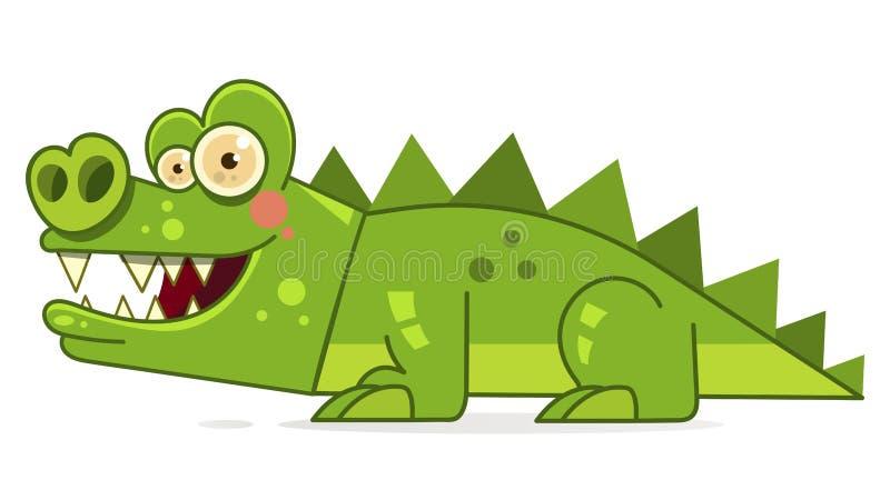 Leuke beeldverhaalkrokodil Vectorillustratie Klaar voor Uw Ontwerp, Groetkaart vector illustratie