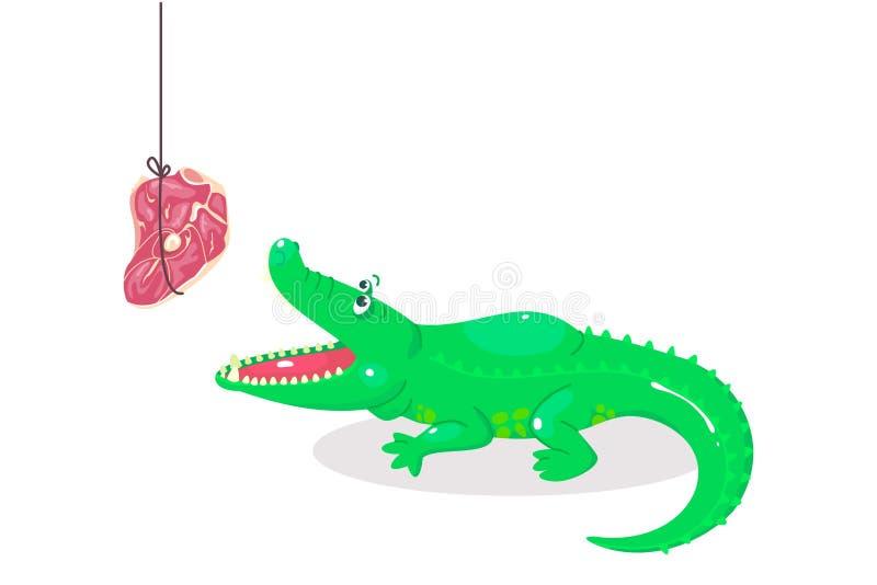 Leuke beeldverhaalkrokodil voor kinderengrafiek Groene alligator met stuk van vlees Roofdier en maaltijd Het dierlijke voeden vector illustratie