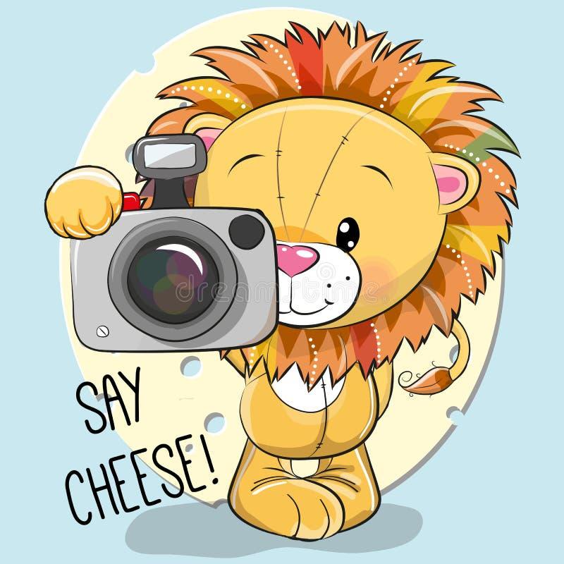 Leuke beeldverhaalleeuw met een camera stock illustratie