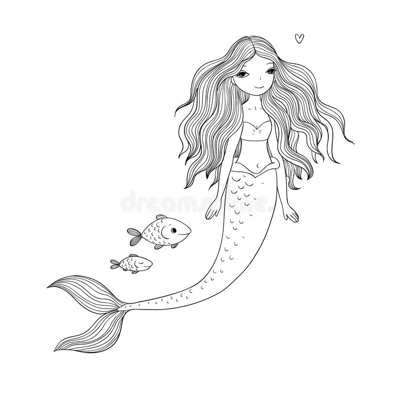 Leuke beeldverhaalmeermin en vissen Sirene Overzees Thema Geïsoleerde voorwerpen op witte achtergrond royalty-vrije illustratie