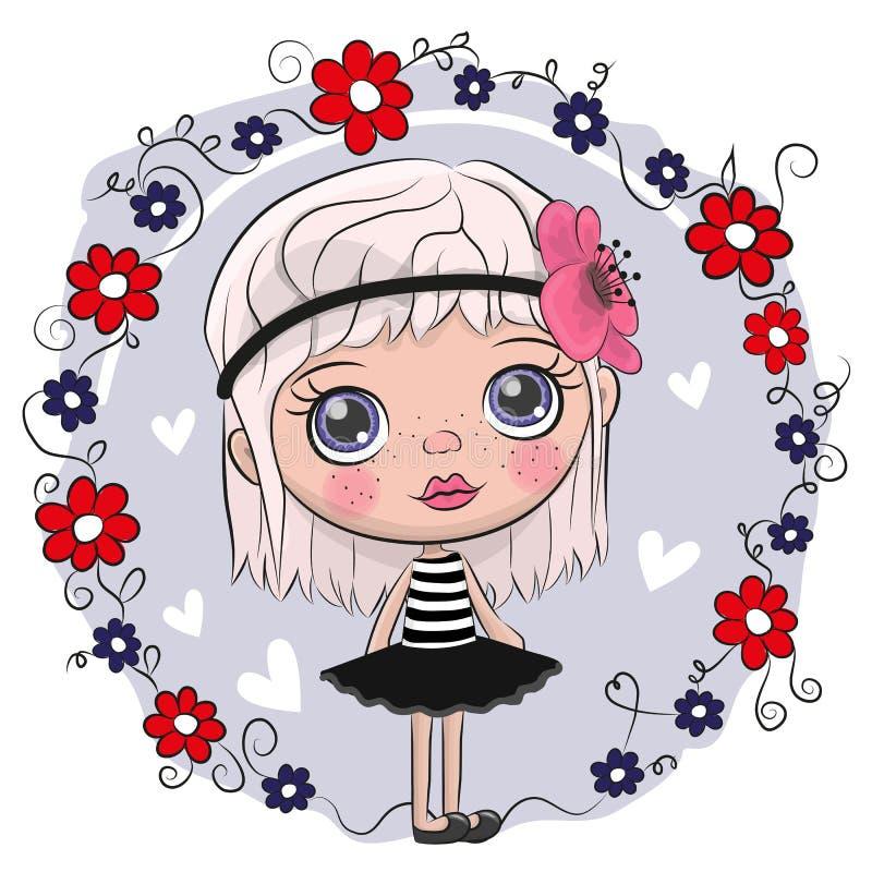 Leuke Beeldverhaalmeisje en bloemen royalty-vrije illustratie