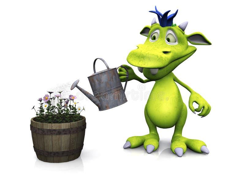Leuke beeldverhaalmonster het water geven bloemen. stock illustratie