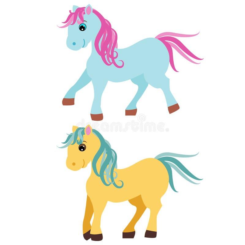 Leuke beeldverhaalponey, kleine die paarden op witte achtergrond, vectorillustratie worden geïsoleerd stock illustratie