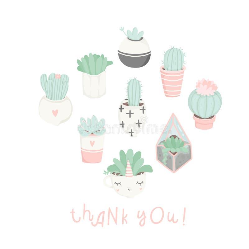 Leuke beeldverhaalprentbriefkaaren met succulents en cactussen vector illustratie
