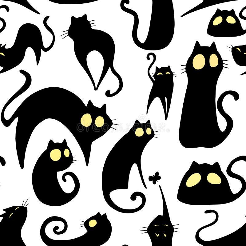 Leuke beeldverhaalvector die grappig patroon met zwarte katten met gele ogen herhalen stock illustratie