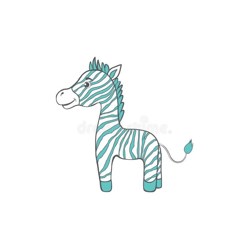 Leuke beeldverhaalzebra, zoogdier van de jong geitje het wilde dierlijke, vector grappige die illustratie op witte achtergrond, d royalty-vrije illustratie