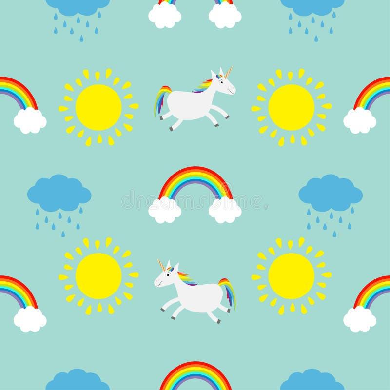 Leuke beeldverhaalzon, wolk met regen, regenboog, de reeks van het eenhoornpaard Verpakkende document van het baby het Naadloze P vector illustratie