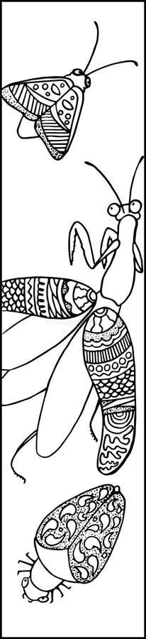 Leuke bidsprinkhanen met insect en motteninkttekening Bidsprinkhanenillustratie voor het kleuren of referentie vector illustratie