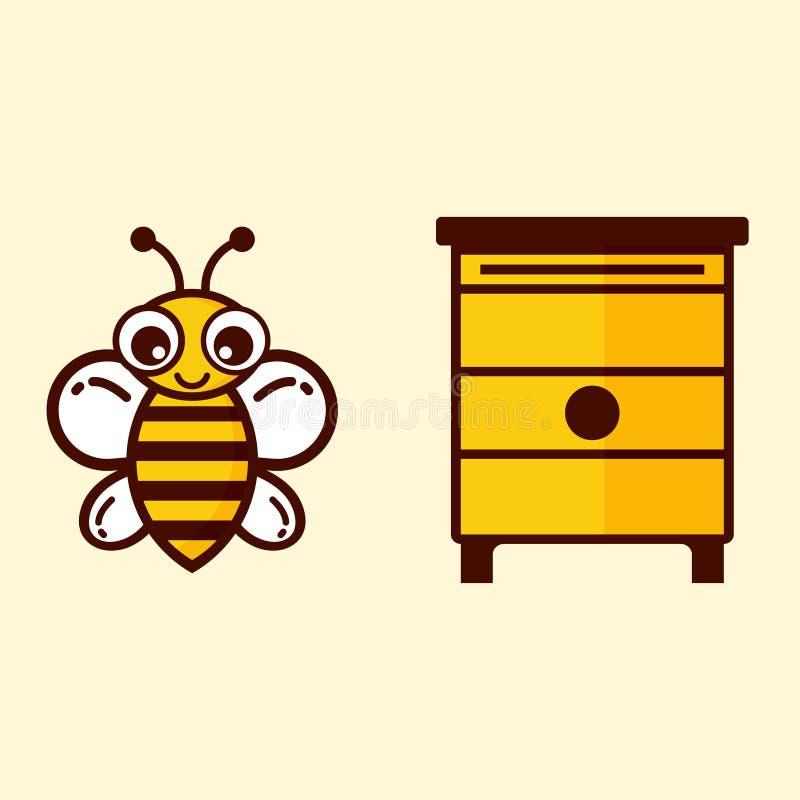 Leuke bij en honeyhouse stock illustratie