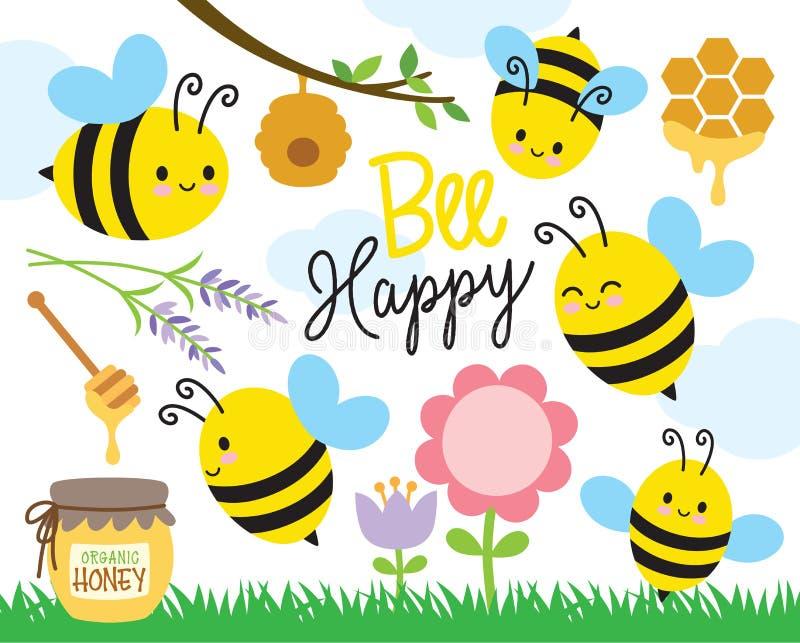Leuke Bij en Honing vector illustratie