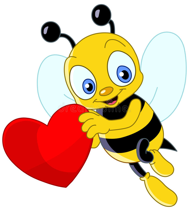 Leuke bijenvalentijnskaart royalty-vrije illustratie