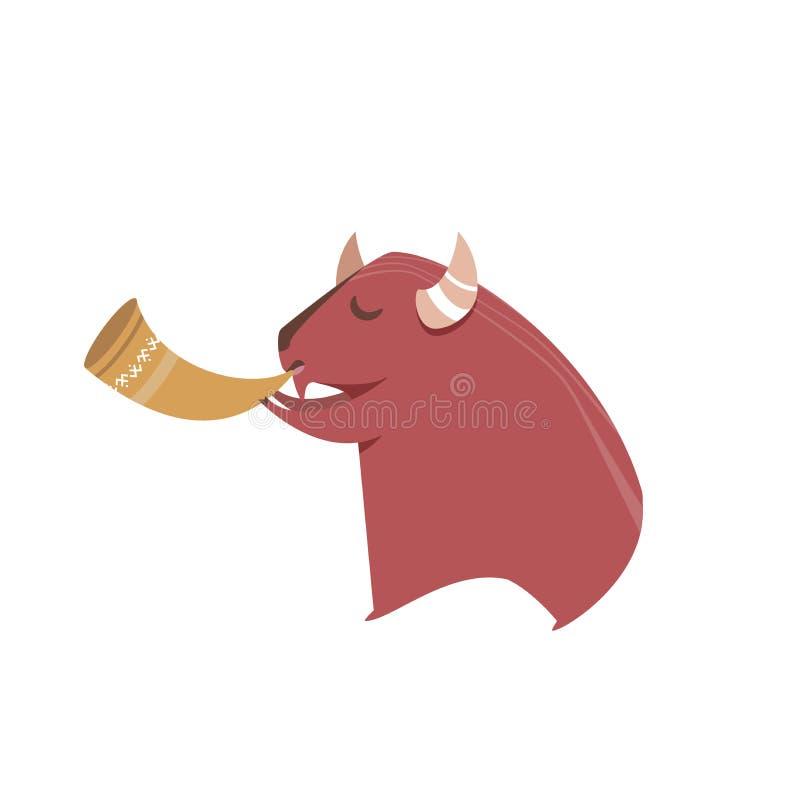 Leuke bizon die de trompet vectorillustratie spelen stock fotografie