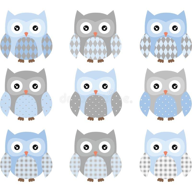 Leuke Blauw en Grey Cute Owl-reeks vector illustratie