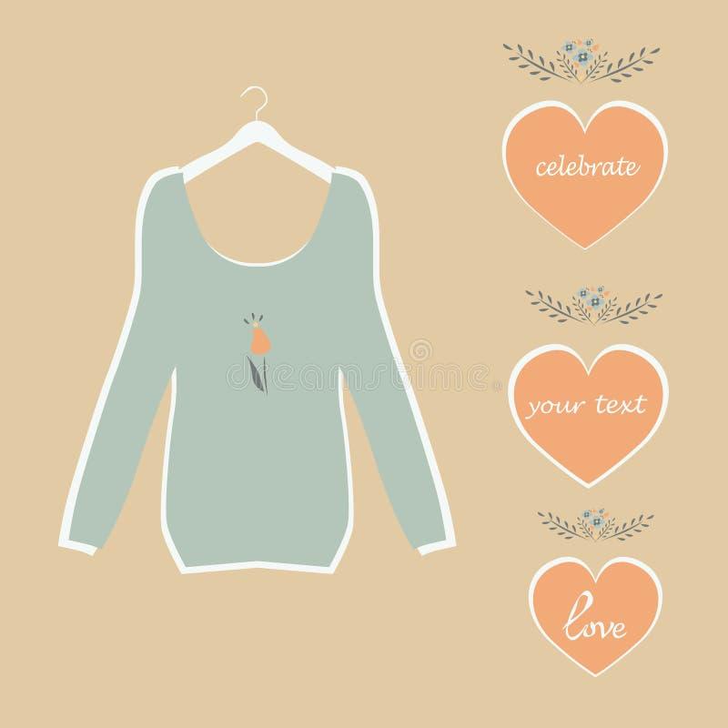 Leuke blauwe blouse op een van hangerplaat geschilderde harten en bloemen vector. vector illustratie