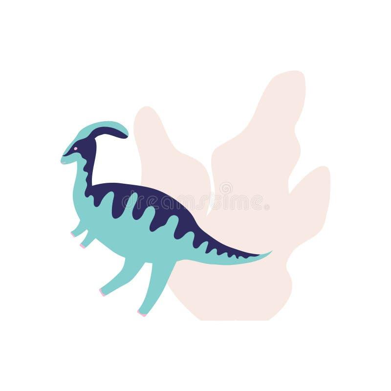 Leuke blauwe dinosaurus met installaties vector illustratie