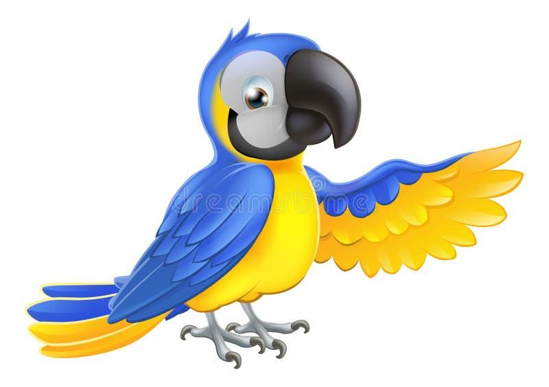 Leuke blauwe en gele papegaai stock illustratie