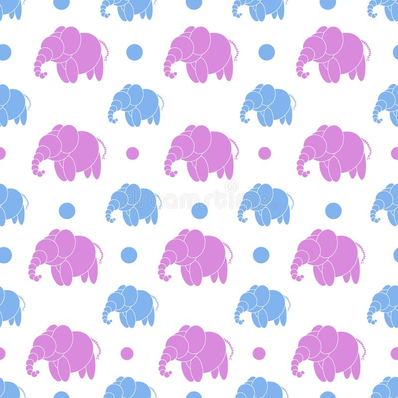 Leuke blauwe en roze naadloze olifanten stock illustratie