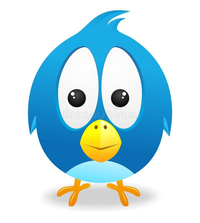 Leuke blauwe vogelvector stock afbeelding