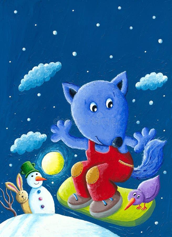 Leuke blauwe vos snowboarder in de de winternacht royalty-vrije illustratie