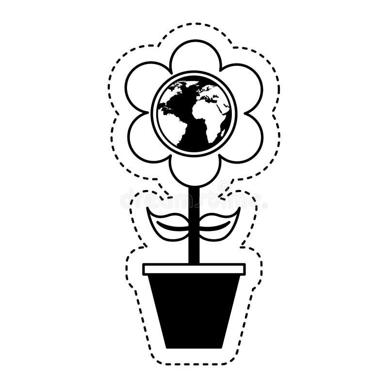 leuke bloem met aardeplaneet royalty-vrije illustratie