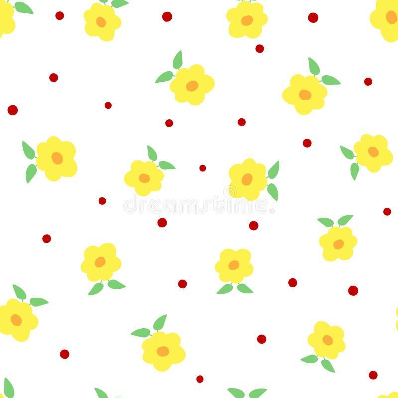 Leuke bloemen met bladeren en stippen Bloemen naadloos patroon royalty-vrije illustratie