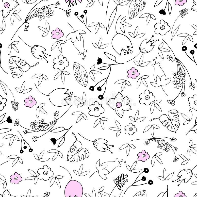 Download Leuke bloemen naadloos stock illustratie. Illustratie bestaande uit roze - 107701636