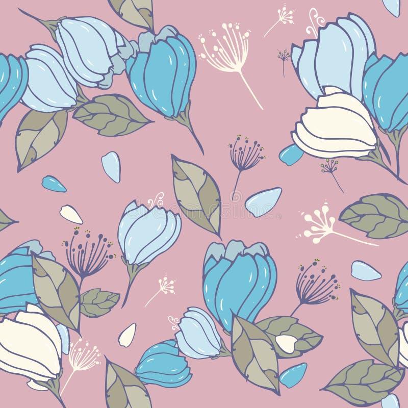 Leuke bloemen naadloze achtergrond met eenvoudige uitstekende googlebloemen Vector herhaal patronen met hand getrokken bloemen El stock illustratie