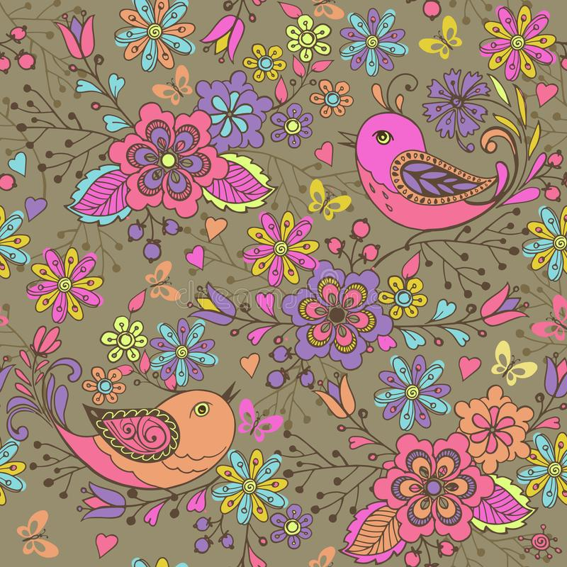 Leuke bloemen naadloze patroonc vogels en vlinders op een bruine achtergrond Naadloos patroon met blauwe, roze vlinders en bloem vector illustratie