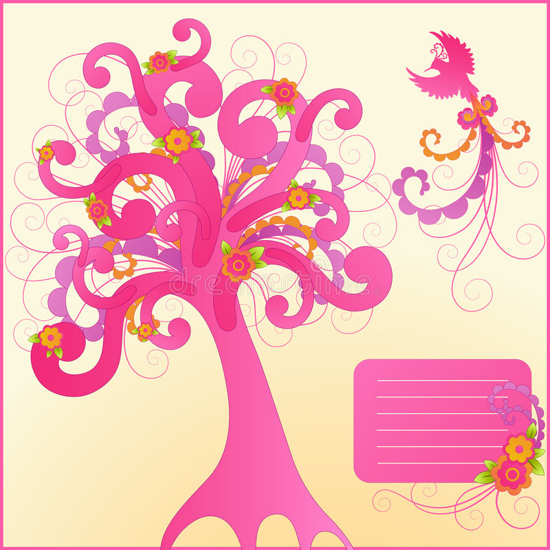 Leuke bloemenontwerpelementen. stock illustratie