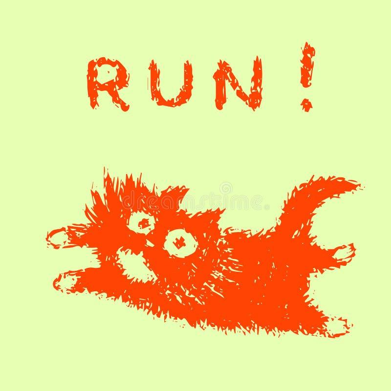 Leuke bont het lopen kat Vector illustratie stock illustratie