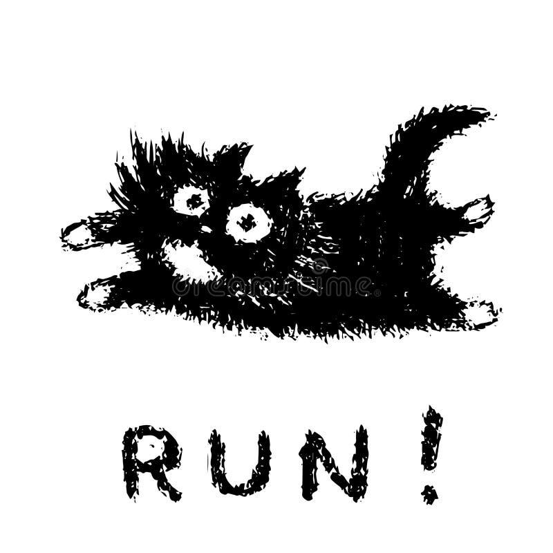 Leuke bont het lopen kat Vector illustratie vector illustratie