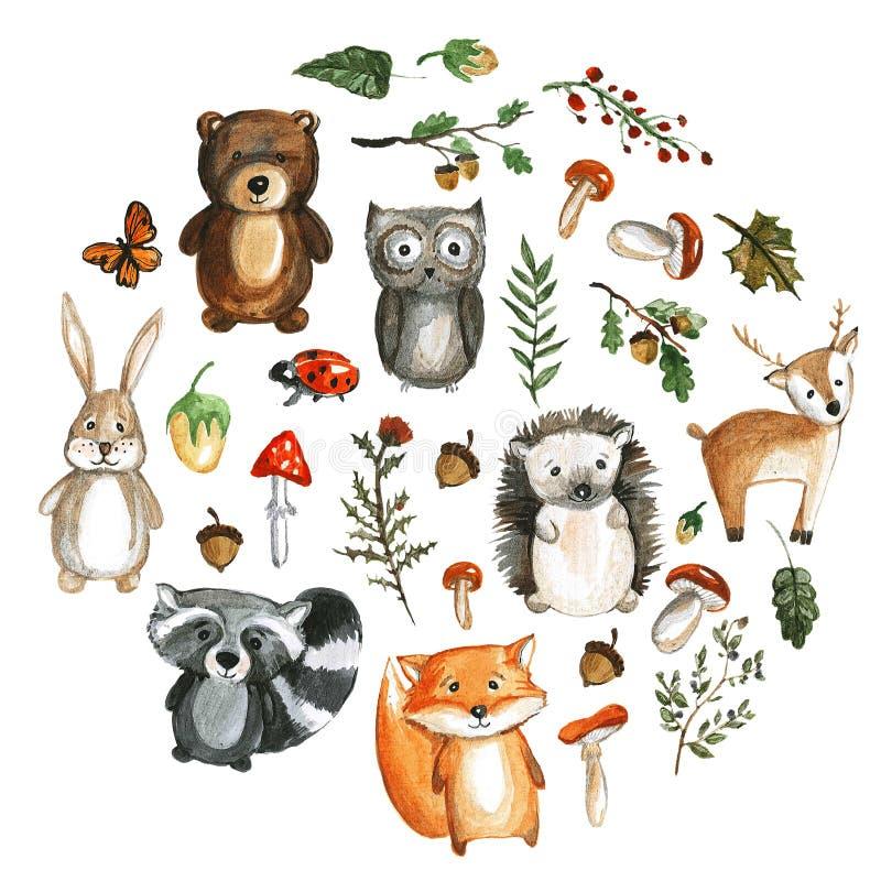 Leuke bos van de de beeldenkleuterschool van de dierenwaterverf de dierentuinpictogrammen royalty-vrije illustratie
