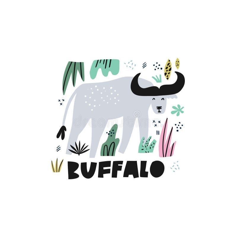Leuke buffels vlakke hand getrokken vectorillustratie stock illustratie