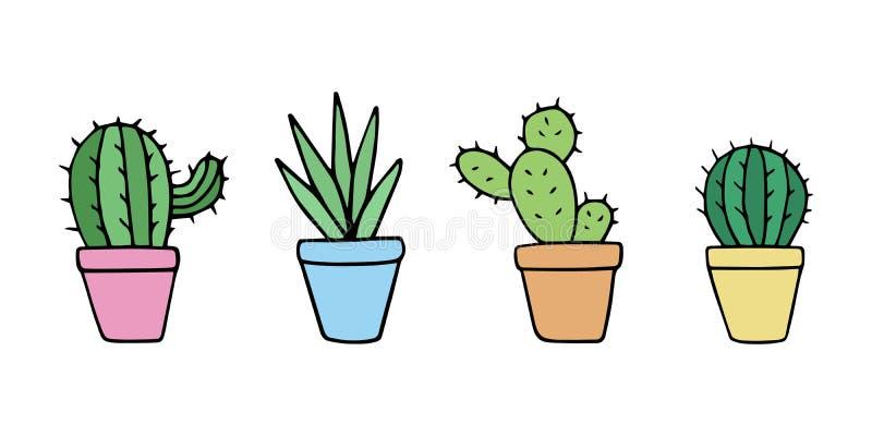 Leuke cactus in pottenreeks royalty-vrije illustratie
