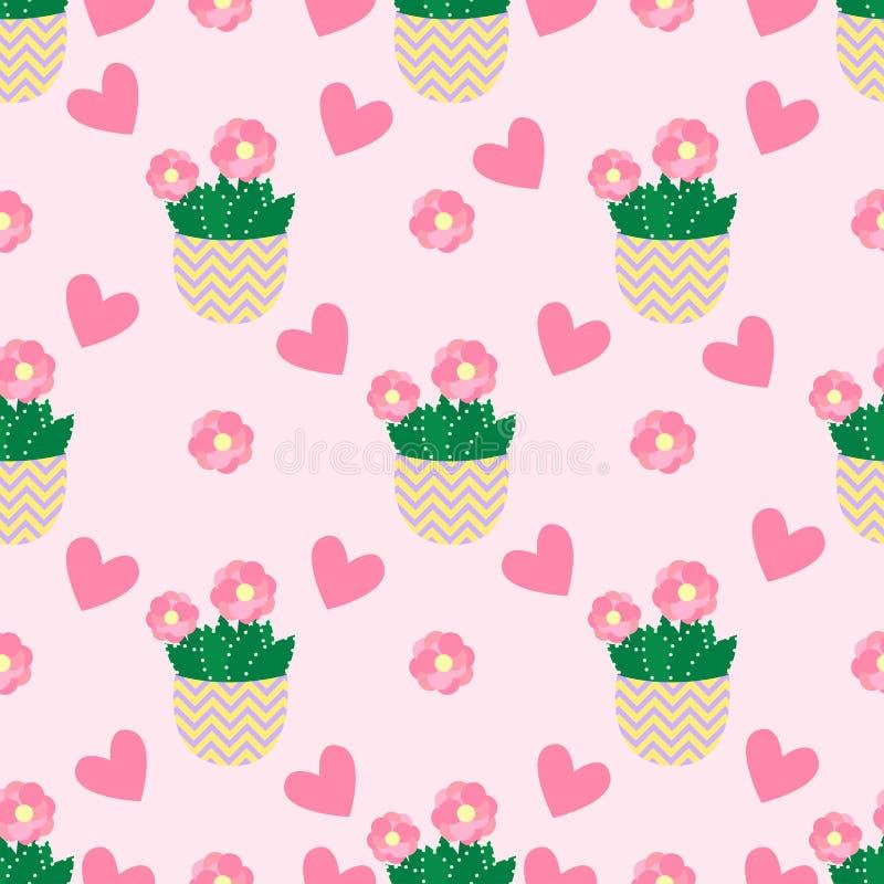 Leuke cactussen, bloempotten Naadloos patroon met leuke cactussen Aard, de lente vector illustratie