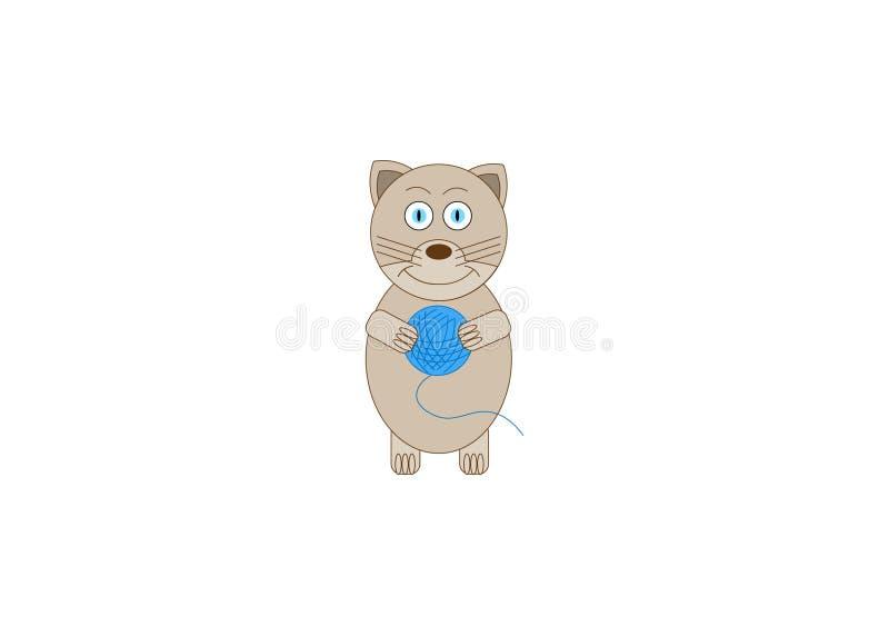 Leuke Cat Playing met een Bal van Garen stock illustratie
