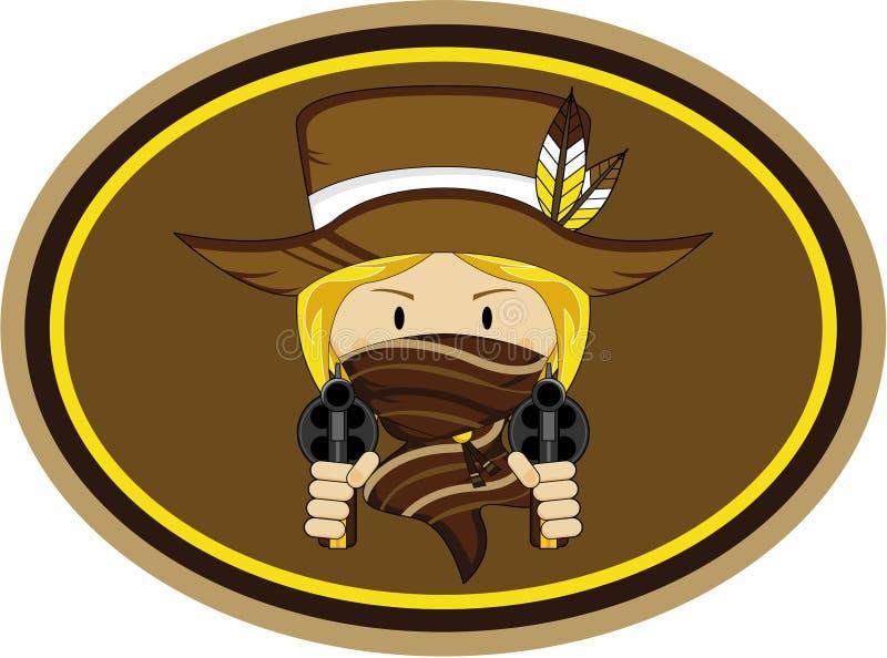 Leuke Cowboy Gunslinger Badge royalty-vrije illustratie
