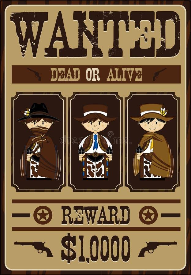 Leuke Cowboy Outlaws Poster royalty-vrije illustratie
