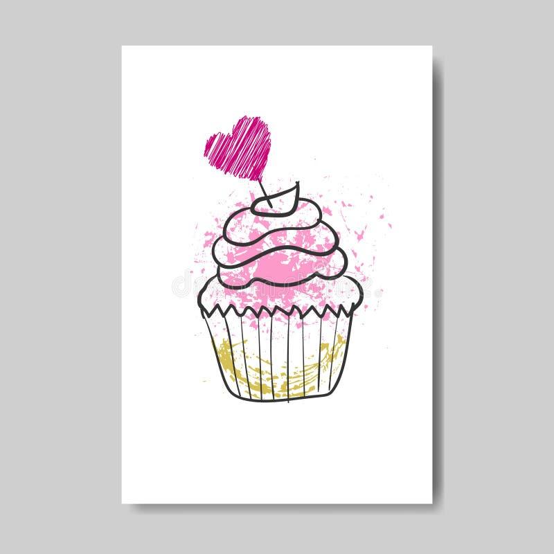 Leuke Cupcake op Valentine Day Greeting Card Doodle-de Liefdeprentbriefkaar van de Ontwerpschets vector illustratie