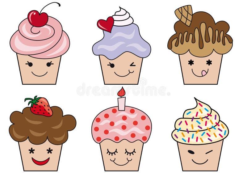 Leuke cupcakegezichten royalty-vrije illustratie