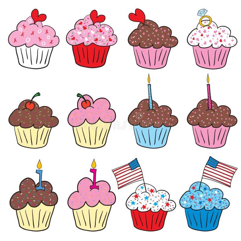 Leuke cupcakes in vele stijlen vector illustratie
