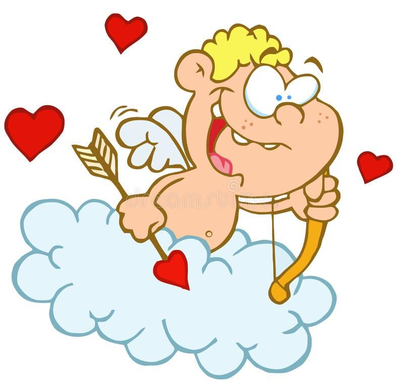 Leuke cupid met boog en pijl die in wolk vliegt royalty-vrije illustratie