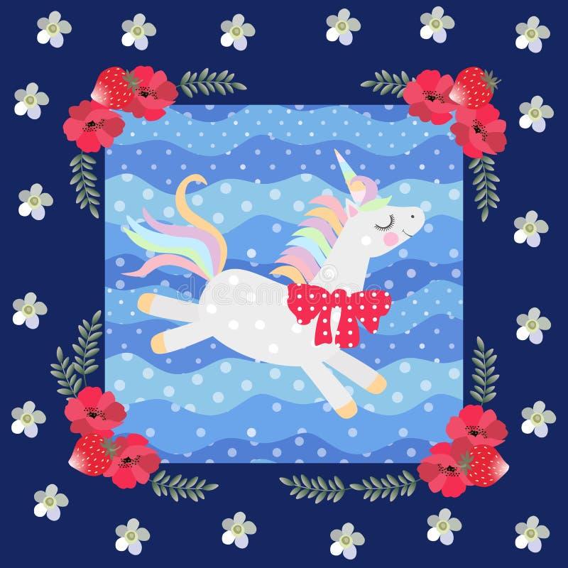 Leuke dansende eenhoorn op blauwe stipachtergrond in mooi bloemenkader Lapwerkpatroon Mooie inzameling royalty-vrije illustratie