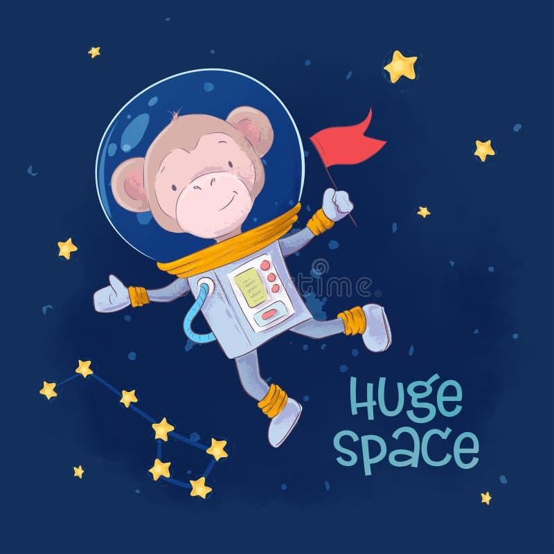Leuke de aapastronaut van de prentbriefkaaraffiche in ruimte met de constellaties en sterren in een beeldverhaalstijl De tekening stock illustratie