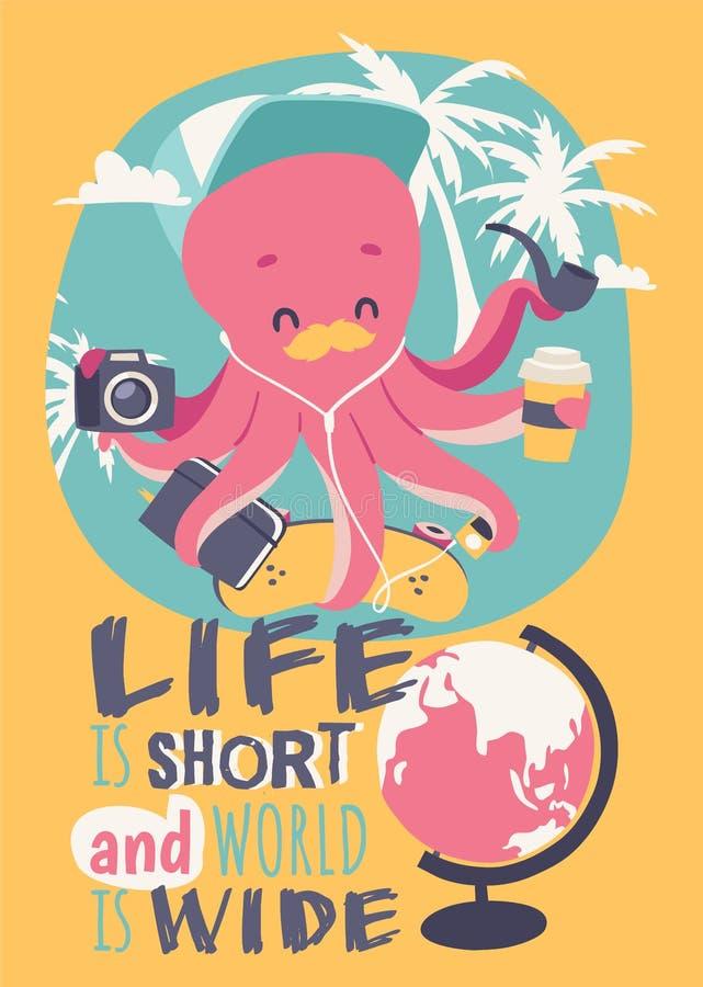 Leuke de afficheillustratie van de beeldverhaaloctopus Grappige mascotte met camera, notitieboekje, skateboard, musicplayer, kop  royalty-vrije illustratie