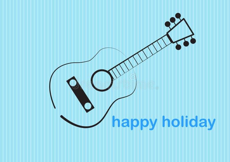 Leuke de borstelstijl van de gitaarkunst in mooie vakantie vectorillustraties vector illustratie