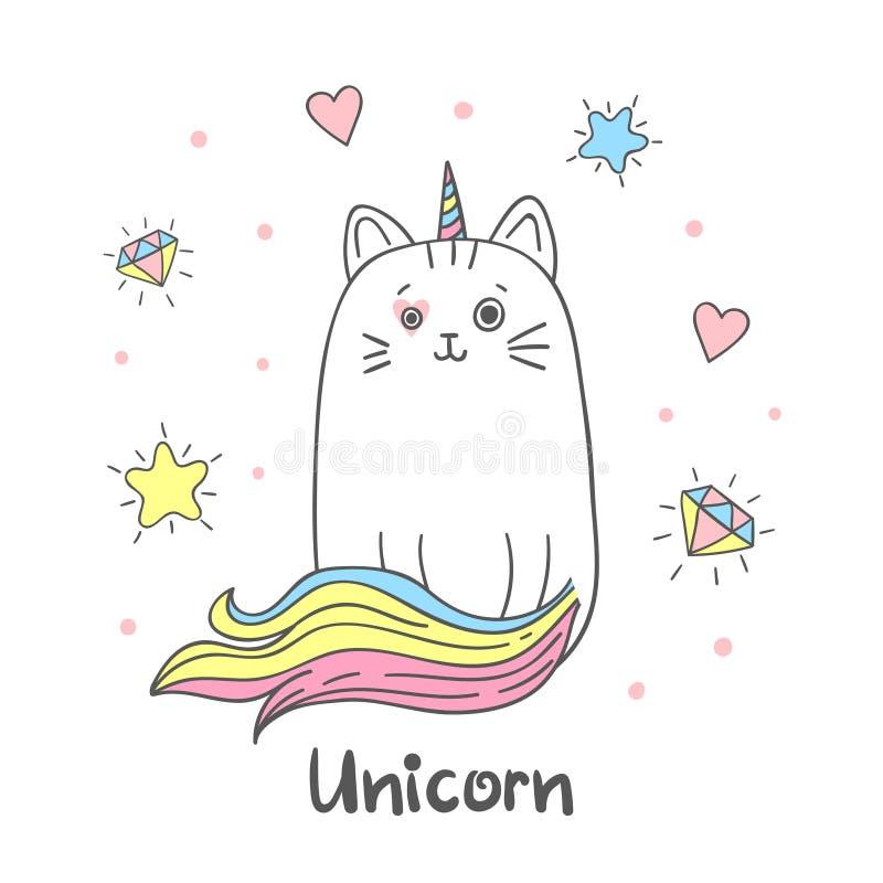 Leuke de eenhoorn vectorillustratie van de regenboogkat royalty-vrije illustratie