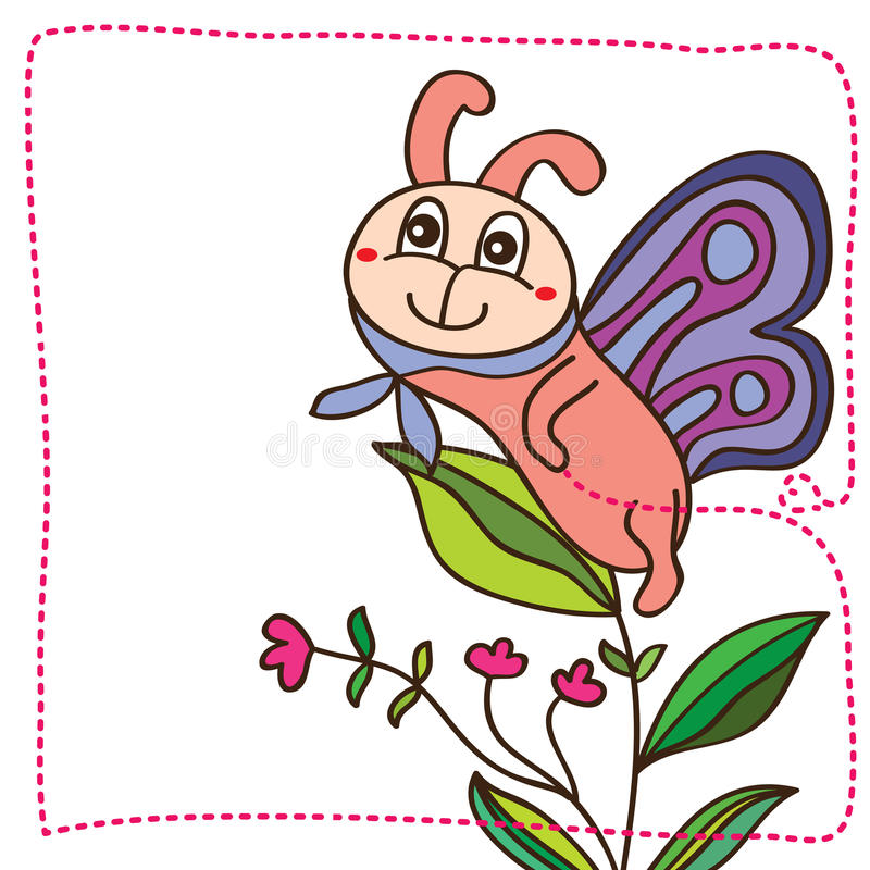 Leuke de glimlachkaart van de vlindermascotte vector illustratie