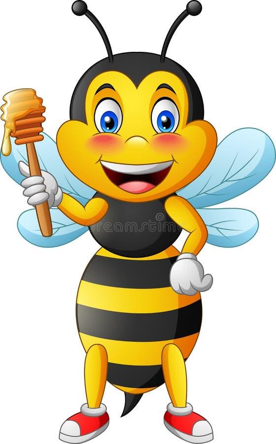 Leuke de holdingshoning van het bijenbeeldverhaal vector illustratie